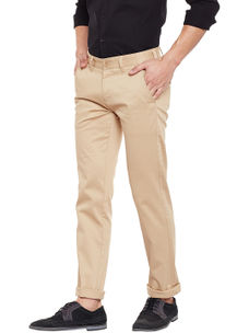 Solid Beige Color Casual Trouser