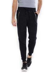 Solid Black Color Cotton Regular Fit Track Pant