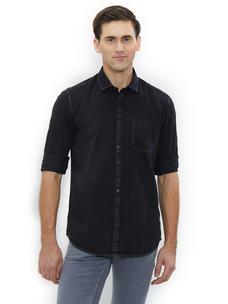 Solid Black Color Cotton Slim Fit Shirts