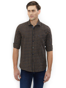 Checkered Brown Color Cotton Slim Fit Shirts