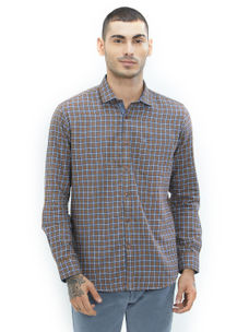 Checkered Brown Color Cotton Slim Fit Shirt