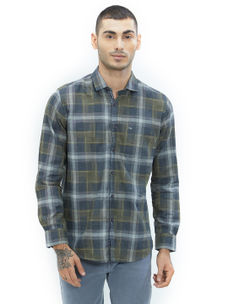 Checkered Green Color Cotton Slim Fit Shirt
