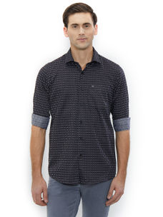 Printed Black Color Cotton Slim Fit Shirts