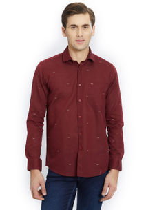 Printed Maroon Color Cotton Slim Fit Shirt