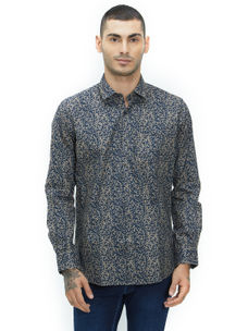 Printed Black Color Cotton Slim Fit Shirt