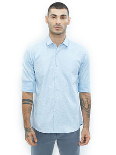 Printed Blue Color Cotton Slim Fit Shirt