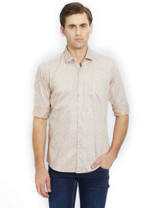 Printed Beige Color Cotton Slim Fit Shirt