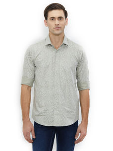 Printed Green Color Cotton Slim Fit Shirts