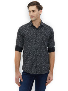 Printed Grey Color Cotton Slim Fit Shirts