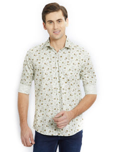Printed Green Color Cotton Slim Fit Shirt