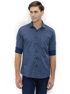 Printed Blue Color Cotton Slim Fit Shirts