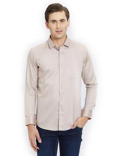 Solid Beige Color Cotton Slim Fit Shirt