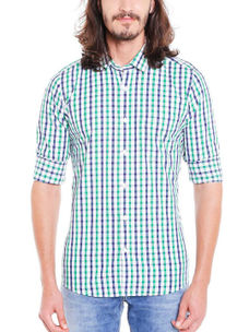 Checkered Multicolor Color Cotton Slim Fit Shirt