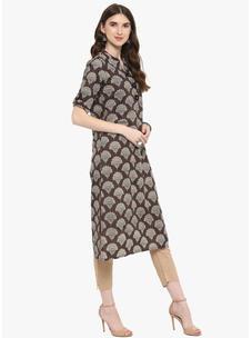 Varanga Charcoal Printed Straight Kurta With Beige Pencil Pants