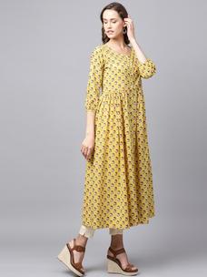 Varanga Yellow Printed Kurta
