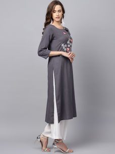 Varanga Grey Solid Straight Embroidered Kurta