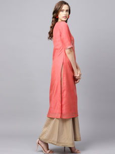Varanga Coral Solid Embroidered Chanderi Kurta