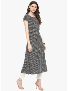 Varanga Black Stripe Print A Line Kurta With White Solid Pencil Pants
