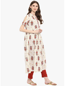 Varanga Ivory Printed Flared Kurta With Rust Pencil Pants