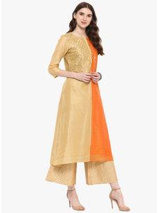 Varanga Beige Embrodiered A Line Chanderi Kurta With Gold Gota Border Palazzo