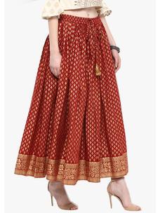 Varanga Red & God Printed Skirt