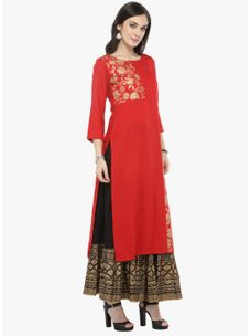 Varanga Red Gold Printed Kurta with Black Printed Skirt