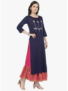 Varanga Blue Embellished Kurta with Pink Printed Skirt