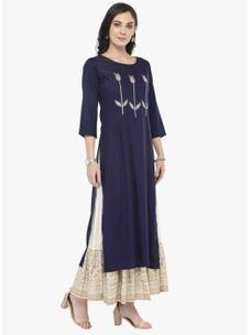 Varanga Blue Embellished Kurta with Ivory Printed Skirt