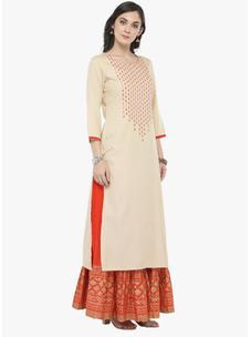 Varanga off-white Embellished Kurta with Orange Printed Skirt