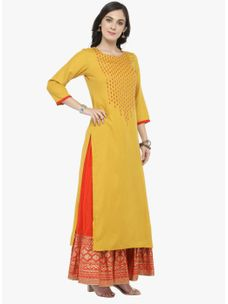 Varanga Yellow embellished Kurta with Orange Printed Skirt