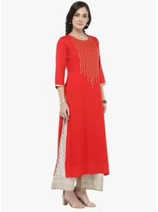 Varanga Red Embellished Kurta with Ivory Printed Palazzo