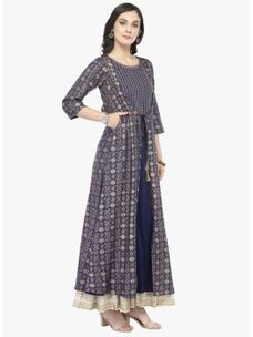 Varanga Blue Gold Printed Kurta with Ivory Printed Skirt
