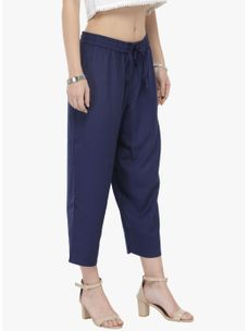 Navy Blue Solid Pants