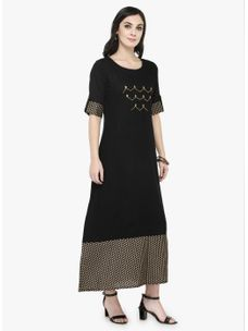 Varanga Black Gold Printed Dress