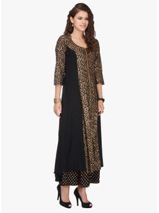 Varanga Black and Gold Printed Rayon Kurta with Palazzo