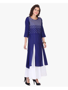 Varanga Blue Rayon Embroidered Kurta