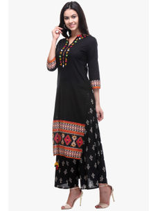 Varanga Black Cotton Embroidered Kurta