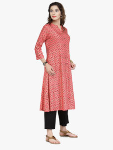 Varanga Orange Cotton Pintucks Kurta