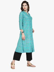 Varanga Blue Cotton Pintucks Kurta