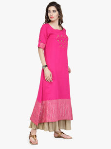 Varanga Pink Cotton Embroidered Kurta