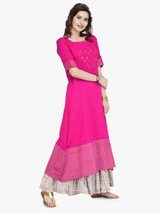 Varanga pink Cotton Gold Zari Embroidery Kurta With Skirt