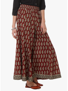 Varanga Maroon Cotton Embroidered Palazzo