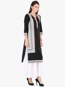 Varanga Black Printed Cotton Round 3/4 Sleeve Kurta with Palazzo
