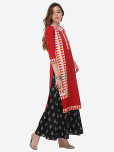 Varanga Red Cotton Printed Kurta
