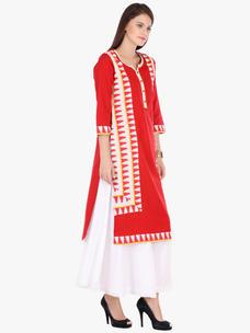 Varanga Red Printed Cotton Round 3/4 Sleeve Kurta with Palazzo