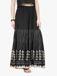 Varanga Black and Beige Printed Rayon Flared Palazzo