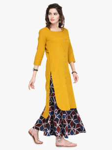 Varanga Yellow Cotton None Kurta