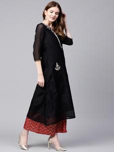 Varanga black embrodiered A line chanderi kurta VAR1180045