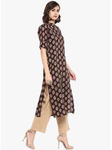 Varanga brown printed straight kurta with beige pants VAR2181103_PZ17119