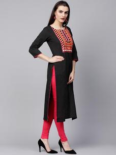 Varanga black embroidered straight kurta  VAR218559